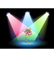 A female clown with flowers at the stage vector image vector image