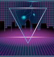 Retro neon background design triangle vector image