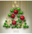 Christmas background with balls Xmas tree made vector image vector image