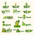 Green Ecology Text Icons Set vector image