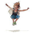 cartoon girl jumping with hands wide apart vector image