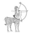 Doodle design of centaur girl for adult coloring b vector image