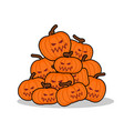 pile of pumpkins for halloween lot of vegetables vector image