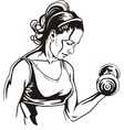 Pretty young woman lifting dumbbells - vector image