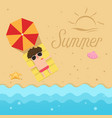 hello summerman sleep on the beach vector image