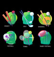 tennis and soccer rugby and baseball sports vector image vector image