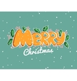 Merry Christmas Lettering Snowy Background vector image