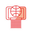 shadow basket ball in the hoop cartoon vector image