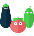 Funny vegetables in flat style vector image