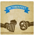Oktoberfest concept Hand with beer mug and vector image