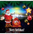 Abstract celebration with Santa Claus and panorama vector image vector image