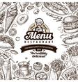 menu restaurant cafe template design hand drawn vector image