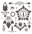 Wine Barrel Bottle Wineglass vector image vector image