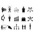 black management icons set vector image