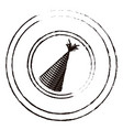 figure round emblem with party hat icon vector image