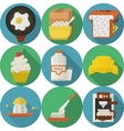 Flat color round icons for breakfast vector image