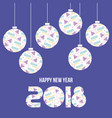 happy new year 2018 card balls with geometric vector image