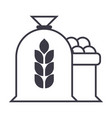 harvest wheat bag line icon sign vector image