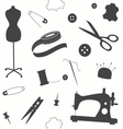 Seamless pattern with sewing machine vector image