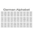 set of monochrome icons with german alphabet vector image