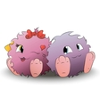 two cute cartoon monster back to back vector image