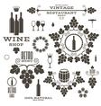 Wine Barrel Bottle Wineglass vector image