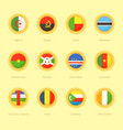 circular flags of algeria angola benin vector image
