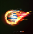 uruguay flag with flying soccer ball on fire vector image