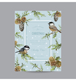 Winter Birds Frame or Card - in Watercolor Style vector image vector image