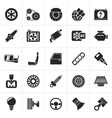 Black Car parts and services icons vector image vector image