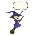 cartoon witch riding broomstick with speech bubble vector image