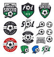 Set of soccer labels emblems and design elements vector image