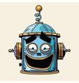emoticon funny laughing emoji robot head smiley vector image