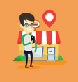 man looking for restaurant in his smartphone vector image