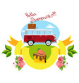red bus summer travel color vector image