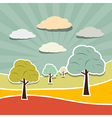 Retro Rural Paper Landscape Background with Trees vector image