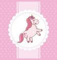 unicorn card pink fairytale decoration vector image