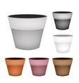 Set of Terracotta Flower Pots on White Background vector image vector image