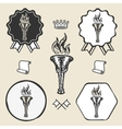 Flame torch vintage symbol emblem label collection vector image