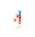 3d cube number 1 logo icon design template vector image