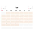 Calendar Template for 2017 Year May Business vector image