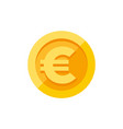 euro sign on gold coin flat style vector image