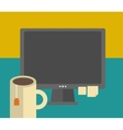 Work table with computer and tea cup vector image
