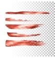 Metallic paint brush stroke set vector image
