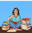 Pop Art Woman Sitting on the Table with Book vector image
