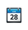 June 28 Calendar icon flat vector image vector image