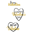 Valentines day typographic labels with gold vector image