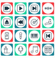 set of 16 audio icons includes sound box music vector image
