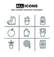 set of 9 agriculture icons includes protection vector image