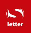 logo letter S on a red background vector image